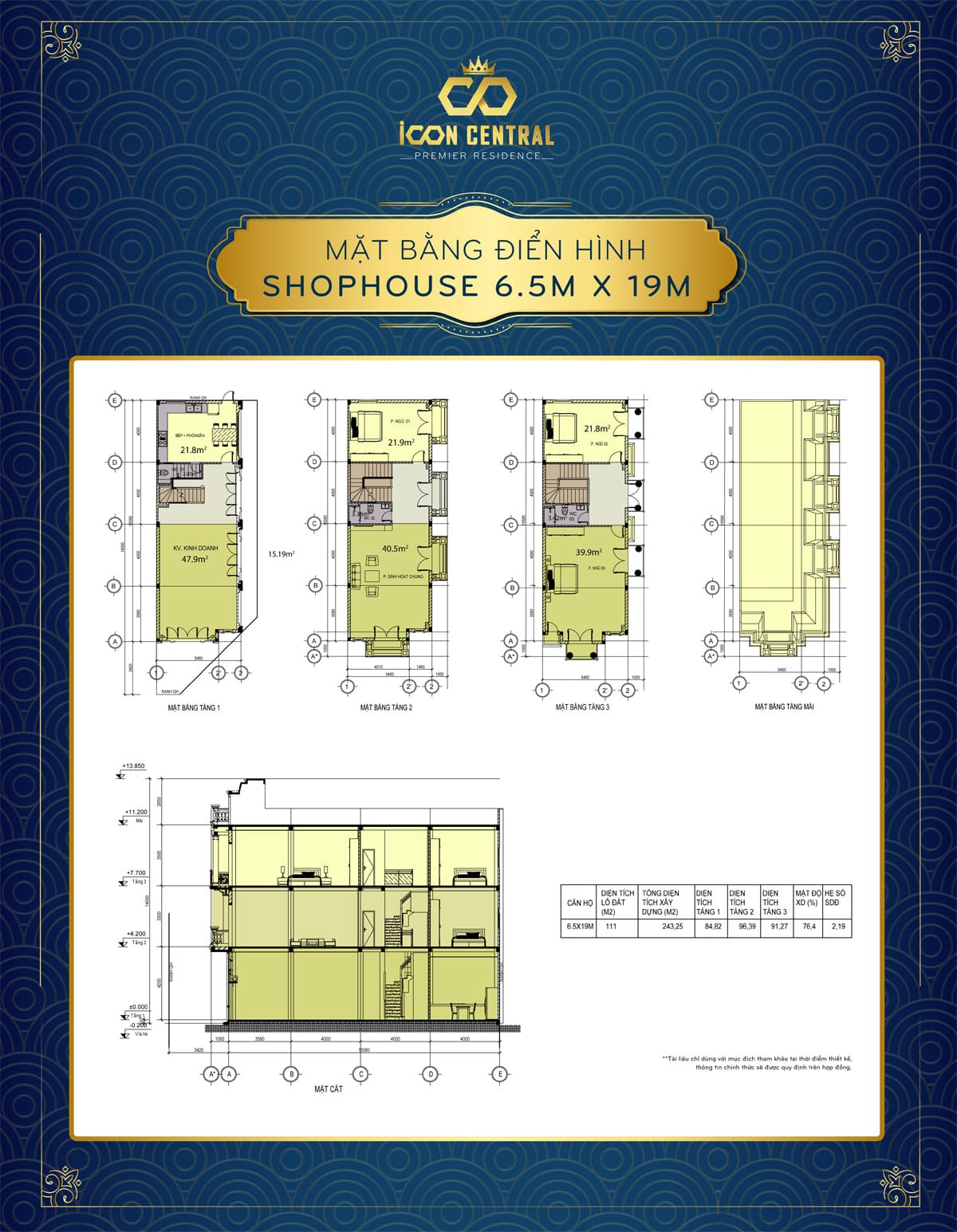 mat bang dien hinh shophouse 65 x 19m icon central - SHOP OFFICE ICON CENTRAL DĨ AN BÌNH DƯƠNG